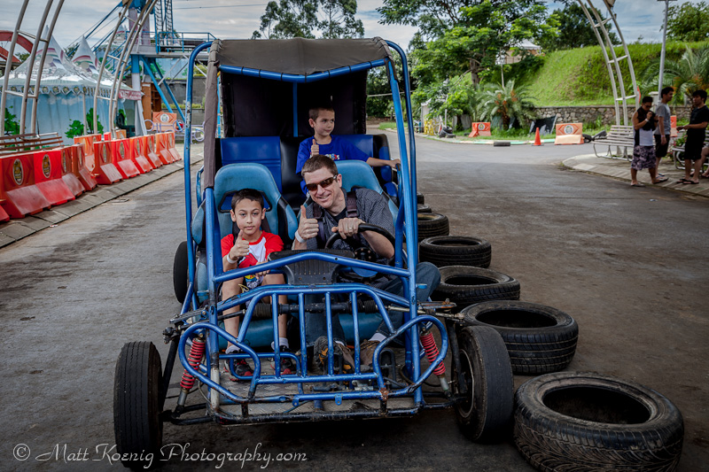 Driving the buggy at Kampung Gajah Wonderland, Bandung