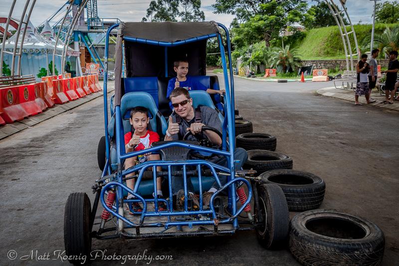 Driving the buggy at Kampung Gajah Wonderland, Bandung